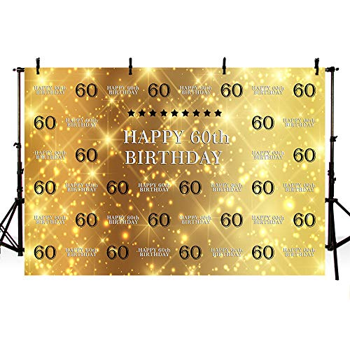 MEHOFOTO Glitter Gold Photo Studio Booth Background Banner Black Stars Step and Repeat 60th Happy Birthday Bash Party Banner Backdrops for Photography 8x6ft -