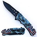 HONYEE Tactical Knife, Survival Knife, 3D Digital Printing Plastic Handel EDC Pocket Knife, Spring Assisted Open Folding Knife for Outdoor Adventure, Hunting, Camping, Household and Survival Review