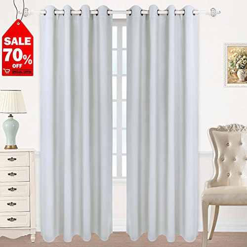 2 Drapes - HOMEIDEAS Blackout Curtains Room Darkening Thermal Insulated Grommet Drapes for Bedroom (52 x 84 Inches, Greyish White, 2 Panels)