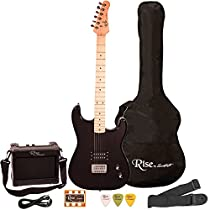 Rise by Sawtooth ST-RISE-ST-BLK-KIT-1 Electric Guitar Pack, Black