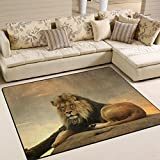ALAZA African Lion Area Rug Rugs for Living Room Bedroom 5'3 x 4′ Review
