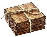 Thirstystone NR23701 Urban Farm Square Mango Wood Bark Coasters (Set of 4), Brown