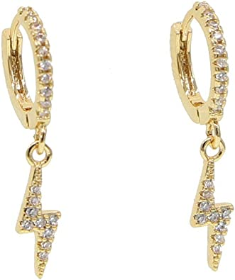 GOLD CRYSTAL HOOP EARRINGS STAR STARBURST LIGHTNING CHARM JEWELLERY GIFT