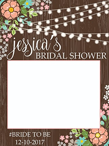 Custom Rustic Bridal Shower Photo Booth Frame - Sizes 36x24, 48x36; Personalized Bridal Shower Decorations, floral Wedding photo booth prop, Miss to Mrs. Handmade Party Supply Photo Booth (Sign Photos Name Shower)