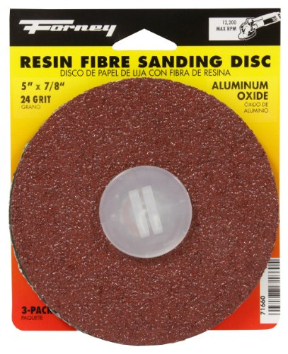 Forney 71660 Sanding Discs, Aluminum Oxide with 7/8-Inch Arbor, 5-Inch, 24-Grit, 3-Pack