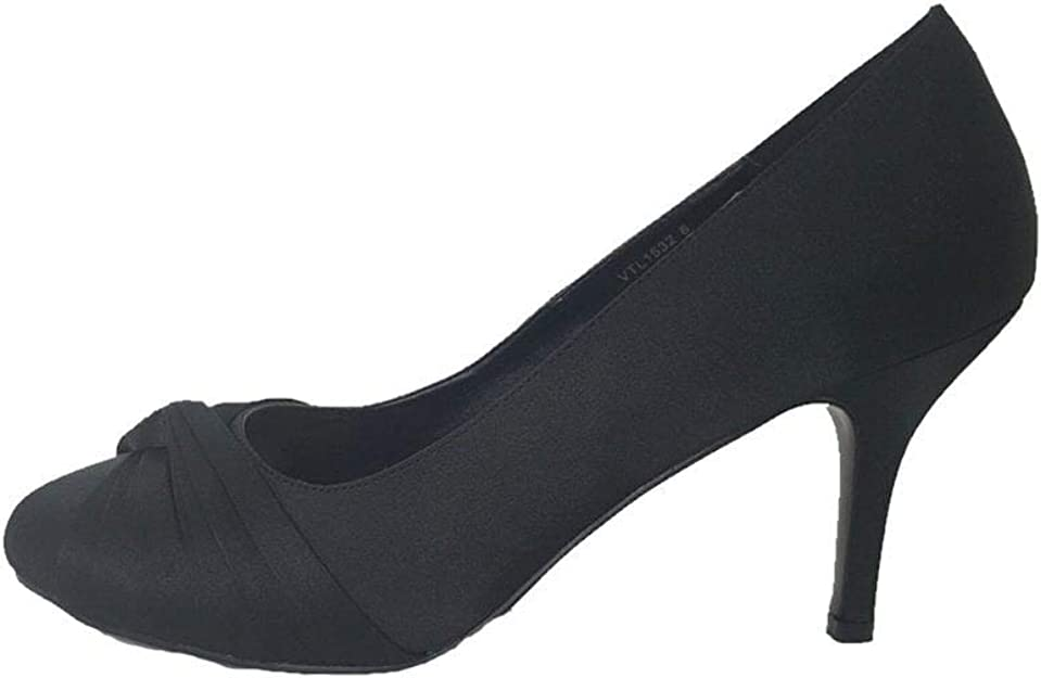 VTL1532 Black Satin Court Shoe