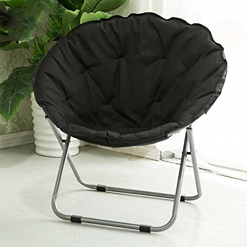 Folding chair / Round Leisure Folding Chair / Moon Chair / Home Folding Chair / Recliner /Home lazy sofa /Sun loungers /Balcony lounge chair / ( Color : Black ) by Folding Chair