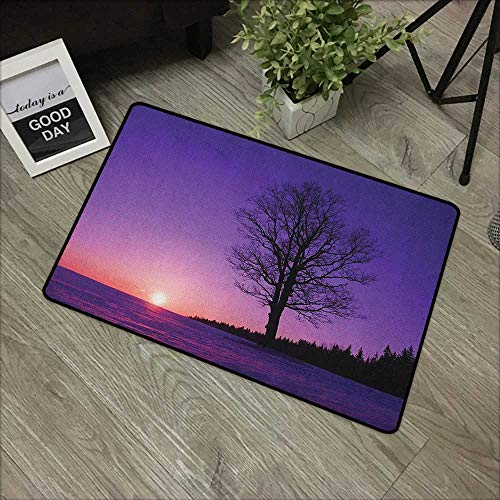 - Bathroom anti-slip door mat W31 x L47 INCH Tree,Oak Tree at Sunset Snowy Field Wintertime Nature Landscape Wilderness Scene Print, Puple Black Our bottom is non-slip and will not let the baby slip,Doo