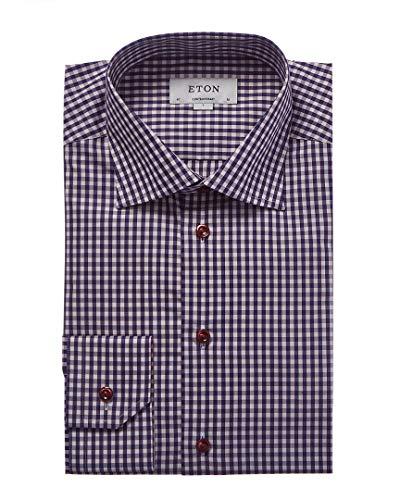 Eton Mens Contemporary Fit Plaid Dress Shirt, 43