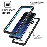 MoKo Samsung Galaxy S8 Plus Waterproof Case, Ultra Protective Case with Built-in Screen Protector Shock-absorbing Bumper Dustproof Submersible Full-body Case for Galaxy S8+ Only, Black + Blue