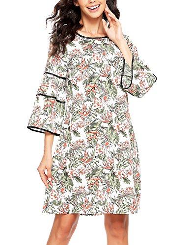 SE MIU Floral Ruffle Flare Bell Sleeve Casual Short Dress Print Women Summer 3/4 Sleeve Adorable Shift (Miu Miu Green)