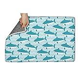 aknhdhdg Original Large Indoor/Outdoor All Weather Floor Mats for Entryway Waterproof Blue 3D Shark Decor Funny Shoes Scraper Throw Mat Door Mat 23.5'x15.5'