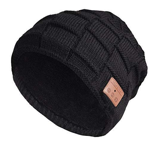 Stretchy Bluetooth Beanie Thicker Knit Winter Music Hat Wireless Smart Men & Women Fasion Caps with Stereo Headset Fit for Outdoor/Indoor Sports Gifts (Black 2#) ()