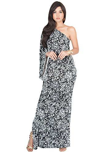 KOH KOH Womens Long One Shoulder Cocktail Evening Summer Gown Maxi Dress