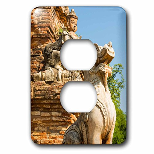 Danita Delimont   Statues   Myanmar  Mandalay  Inwa  Red Brick Stupa  Lion Guardian    Light Switch Covers   2 Plug Outlet Cover  Lsp 225410 6