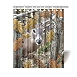 Beta Fish Shower Curtain TsuiTsui Wild Deer Forest Pattern Ramos Beta Fish Waterproof Bathroom Fabric Shower Curtain 60X72