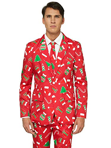 OFFSTREAM Ugly Christmas Suits for Men in Different Prints – Xmas Sweater Costumes Include Jacket Pants & -
