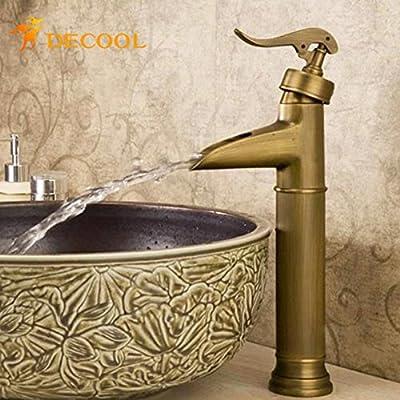 Tyrants FaucetKitchen faucet Bathroom faucetUnique Design Countertop Vessel Sink Basin Faucet Antique Brass Deck Mounted Bathroom Sink Mixer Taps GZ8006