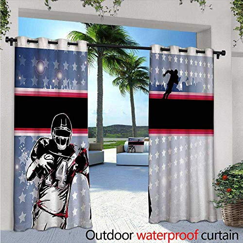 Americana Outdoor Privacy Curtain for Pergola Baseball American Football Player Running in the Field with the Stars Pattern Thermal Insulated Water Repellent Drape for Balcony W120