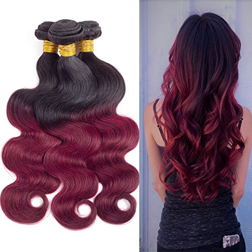 Black and Red Ombre Hair Ombre 1B 99J Brazilian Body Wave Ombre Hair Extensions Two Tone Black to Maroon Red Ombre Hair Bundles (20inch & 22inch & 24inch)