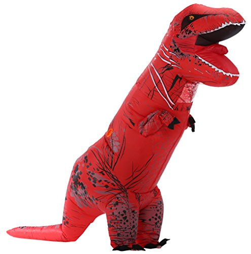Caringgarden Unisex Jurassic T-Rex Inflatable Costume Dinosaur Fancy Dress Red Adult Size