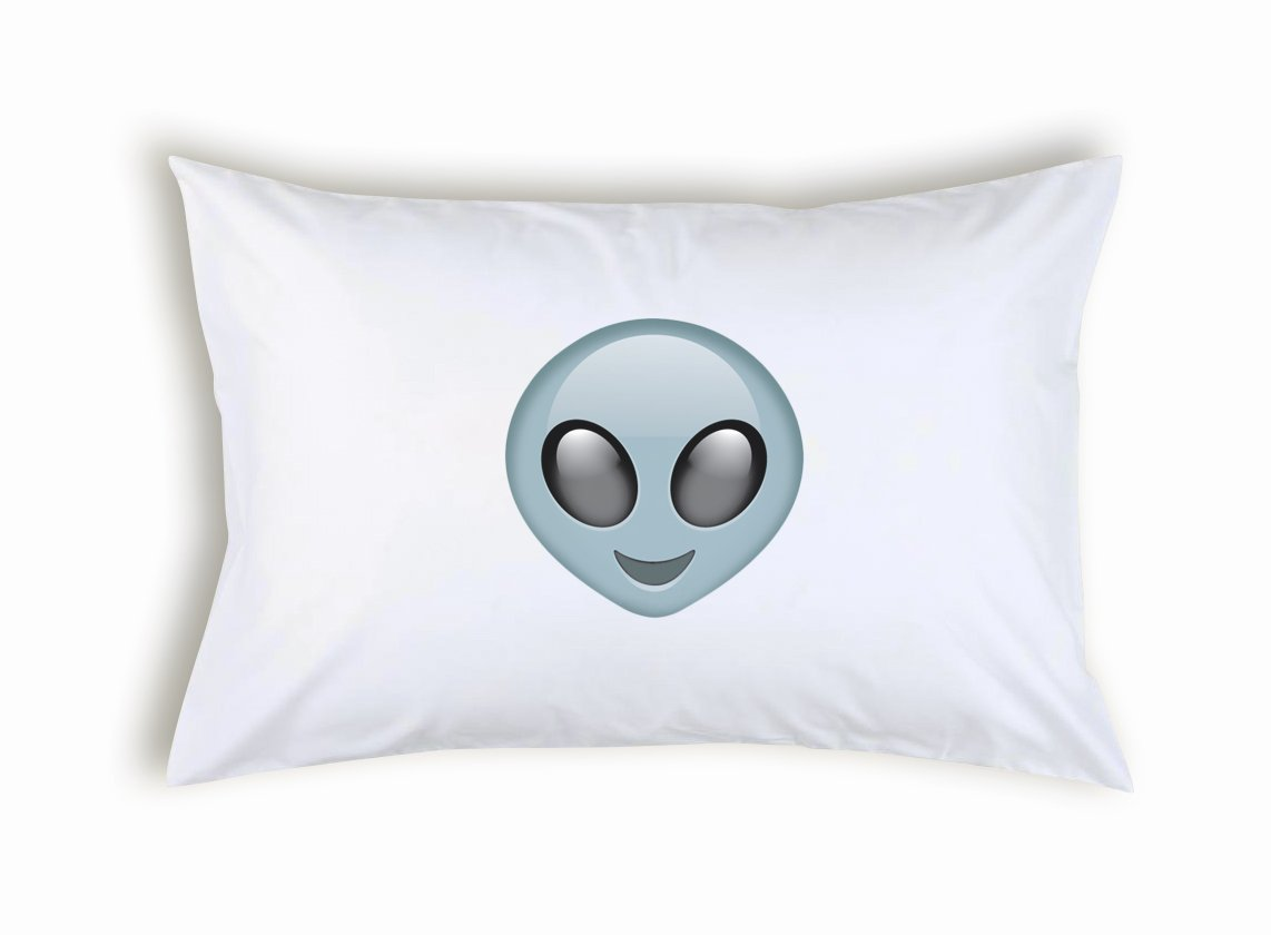 Popdesigners Alien Ufo Face Emoticon Emoji Pillow Case