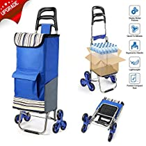 ROYI Upgraded Folding Shopping Cart, Stair Climbing Cart Grocery Laundry Utility Cart with Wheel Bearings 2018 Version