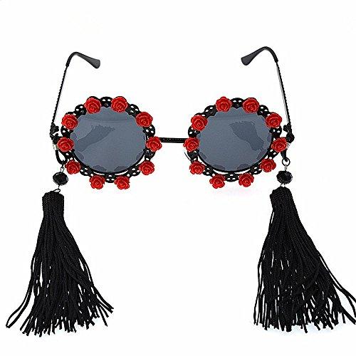 polarisées de femmes soleil Élégance de classique Vintage st lunettes pour fleur Lunettes baroque de glands Miroir la mode Soleil Classique les et de de lunettes métal De lunettes Femmes Rouge soleil soleil xnw6TgBqn