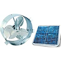 Ultra Premium Solar Gable Attic Fan, Rust Prevention Galvanized Steel, Highest Efficiency Blades, Long Lasting Brushless DC Motor, Black Frame Solar Panel, RV, Green House