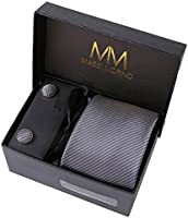 Massi Morino Ties – Box Set with Microfiber Neck Tie For Him with cufflinks, tie clip & handkerchief, Hand Stitched Faux Silk Colourful Paisley Design, Gift Boxed