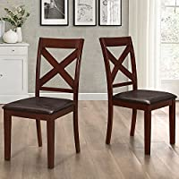 WE Furniture Solid Wood X-Back Padded Dining Chairs (Set of 2), Espresso