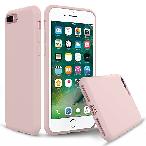 iPhone 8 Plus Silicone Case, iPhone 7 Plus Silicone Case PENJOY Full Body Protection Silicon Cases Support Wireless Charging Slim Rubber Cover for Apple iPhone 7 Plus/iPhone 8 Plus, Sand Pink