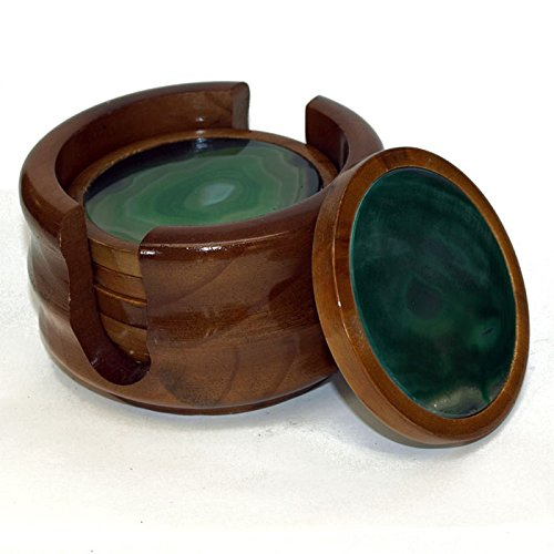 The Royal Gift Shop Agate Drink Coaster Set of 6 with Wooden Base - (Green) -