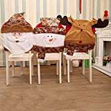 Goodtrade8 Clearance Christmas Chair Covers, Santa Snowman Deer Chair Back Dinner Table Decor Party Home Kitchen Room Kids Bedroom Decorations Gift (3 Pack)