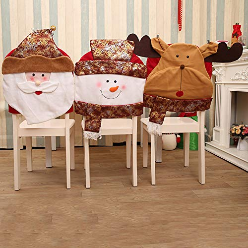 Goodtrade8 Clearance Christmas Chair Covers, Santa Snowman Deer Chair Back Dinner Table Decor Party Home Kitchen Room Kids Bedroom Decorations Gift (3 Pack) by Goodtrade8 Clearance