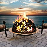 """Beautiful Starry Nite Wood Burning Fire Dome Pit in Black with Star Accents, Accentuates Fire's Glow, Geometric Design, Built in Screen, 20"""" Diameter x 11"""" Height"""