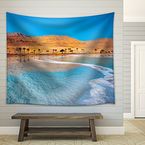 Dead Sea Seashore with Palm Trees and Mountains on Background Fabric Wall