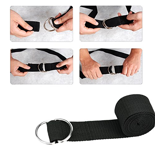 Fitness Exercise Yoga Strap with D Ring D-Ring Buckle,6 Feet Perfect for Yoga Stretching, Flexibility and Physical Therapy Pack of 2