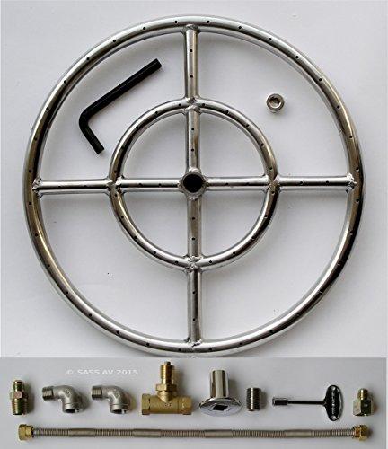 [해외]방화 구덩이 버너 링, 15 직경 스테인레스 스틸 더블 링, 커넥터가있는 2 엘보 키트/Fire Pit Burner Ring, 15  Diameter Stainless Steel Double ring, 2 Elbows Kit with Connector