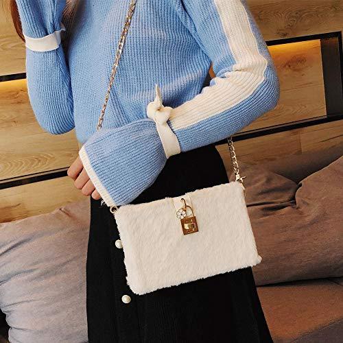 Fur Box Plush Soft Women Bags Bags Faux Shoulder Chain Crossbody Diamondo White Elegant 0wCqEII