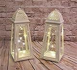 Link Products Cream Lantern Metal & Glass 28 Cm set 2