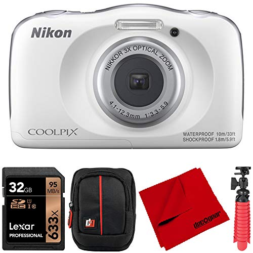 Nikon 26530 COOLPIX W150 13.2MP Waterproof Point and Shoot Digital Camera Bundle with Deco Gear Camera Case, 32GB Memory Card, 12-Inch Rubberized Tripod and Microfiber Cleaning Cloth