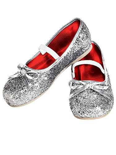 Fairy Shoes (Rubie's Costume Silver Glitter Child Flat Shoes, Medium)