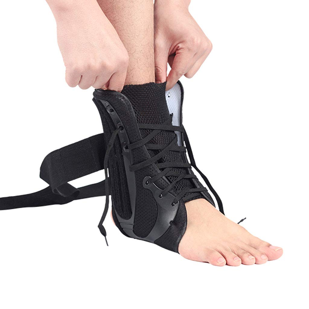 DONGBALA Ankle Support, Adjustable Ankle Brace Tie His Shoe Design Multiple Pressure Fracture Fixation for Sprains Arthritis,Right,M