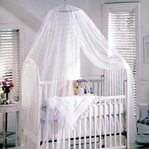 Sealike Cute Baby Mosquito Net Nursery Toddler Bed Crib Canopy Netting Hanging Ring with Stylus (White)