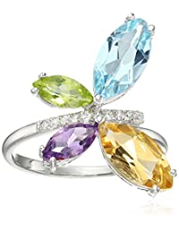 Rhodium Plated Gemstone Butterfly Ring, Size 6
