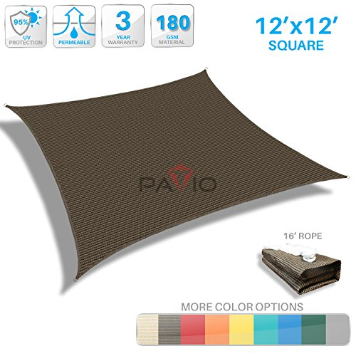 Patio Paradise 12' x 12' Brown Sun Shade Sail Square Canopy - Permeable UV Block Fabric Durable Patio Outdoor - Customized Available