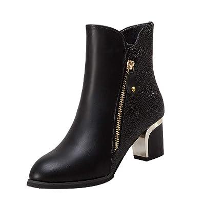 ffa46e7be8e1c8 OSYARD Bottine Femmes Plates Boots Cheville Basse Bottes Talon Chelsea Chic  Compensé Grande Taille Chaussures 5cm