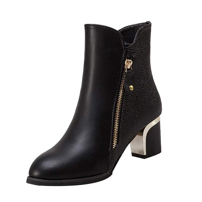 Zapatos de Mujer, ASHOP Casual Planos Loafers Mocasines de Puntera otoño Invierno Bombas de tacón Grueso Inglaterra Botas de para Mujer: Amazon.es: Ropa y ...