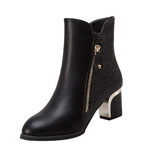 Botines para Mujer,Beikoard Moda Botas Desnudas Gruesas Bombas De Tacón Inglaterra Shoes Botas Señaló Zapatos De Mujer,Botas De Tacón Grueso Botas De Tacón ...